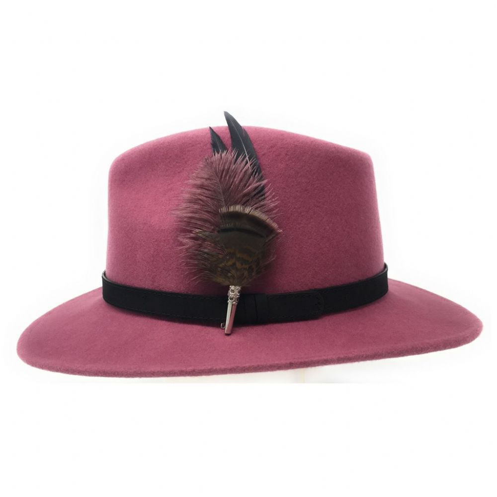 Fedora Hat with Leather Band and Country Feather Brooch - Dusky Pink - Daylesford